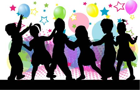 Children silhouettes. Abstract background. Illustration