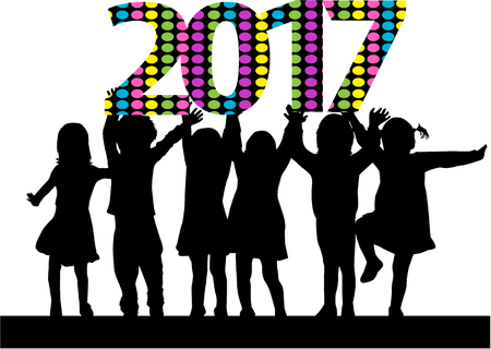 children background: Silhouettes celebrate the new year.