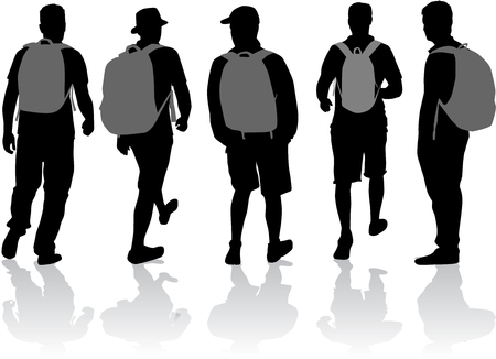 traveler: Silhouette of a man with backpack - traveler.
