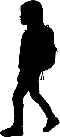 person silhouette: Silhouette girls reaching school.