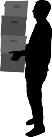 moving office: Silhouette of a man with boxes. Illustration