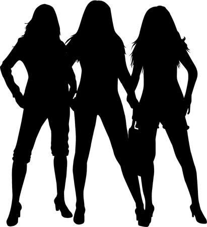 siluetas de mujeres: Negro siluetas de tres mujeres.