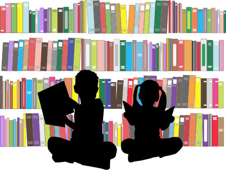 niños estudiando: Siluetas de los niños con los libros. Vectores