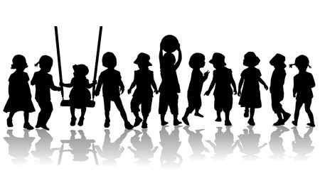 silhouettes: Children silhouettes.