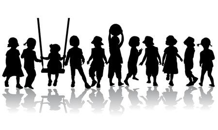woman walk: Children silhouettes.