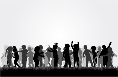 knapsack: Silhouettes of children playing. Large group.