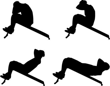 sportsman: Deportes silhouettes.Man hacer abdominales en el banco. Vectores