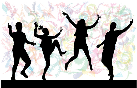 male friends: Dancing people silhouettes. Abstract background. Illustration