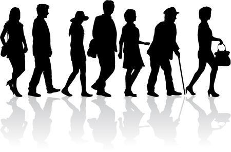 black people: People walking, black silhouettes. Illustration