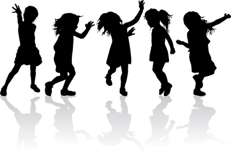 Silhouette of children playing.