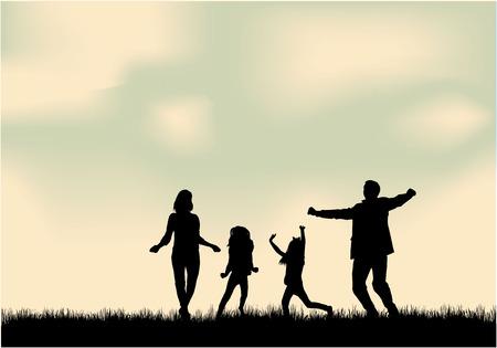 silueta hombre: Siluetas de la familia en la naturaleza.