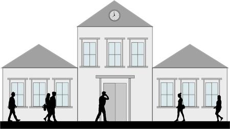 business people walking: Silhouette of business people walking.