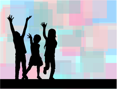 similar: Three of waving children. Abstract background. Illustration