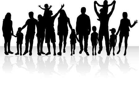 Silhouetten van de familie - grote groep.