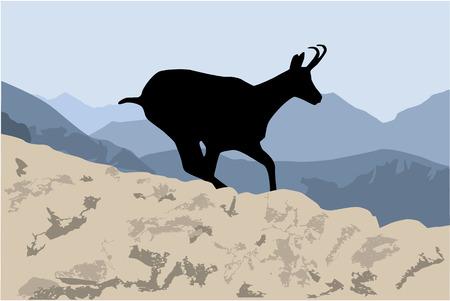Silhouette d'une chèvre de montagne. Vecteurs