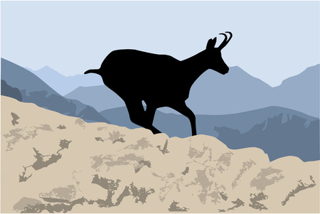 Silhouette of a mountain goat. Illustration