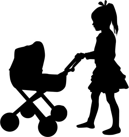 Young girl playing with a pram. Иллюстрация