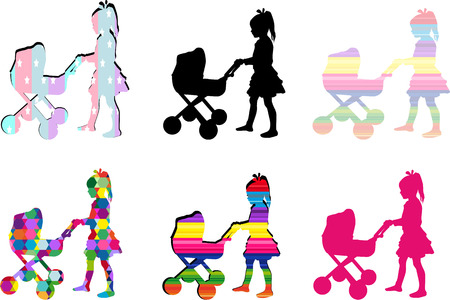 Young girl playing with a pram. Illustration