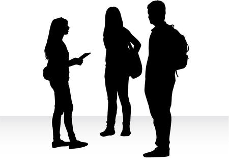 black people: Black silhouettes of people talking.