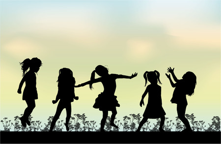 children at play: Happy children play outside. Illustration