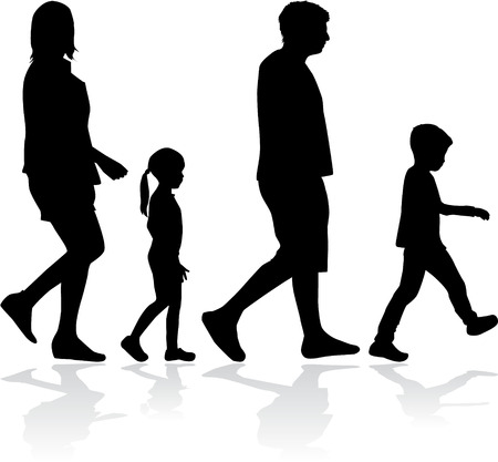l boy: Family silhouettes . Family on a walk.