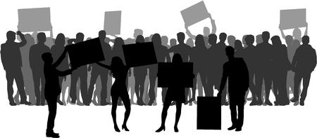 La gente protesta silueta de la muchedumbre.