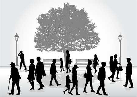 Crowd of people walking. Illustration