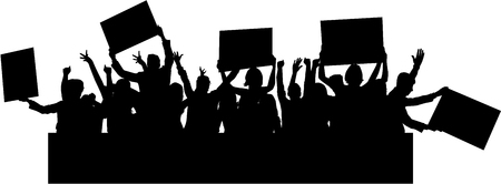 La gente protesta silueta de la muchedumbre. Ilustración de vector
