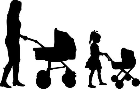 Mum with children on a walk. Çizim