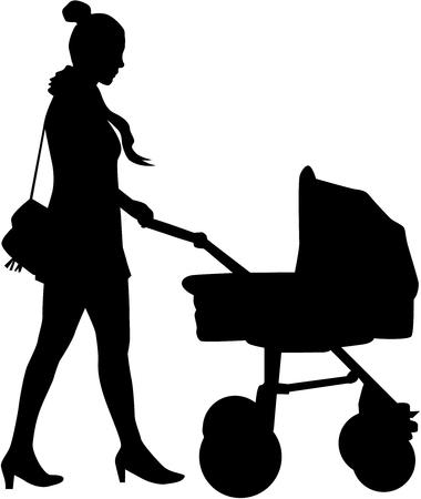 Mère marche avec l'enfant dans la poussette.