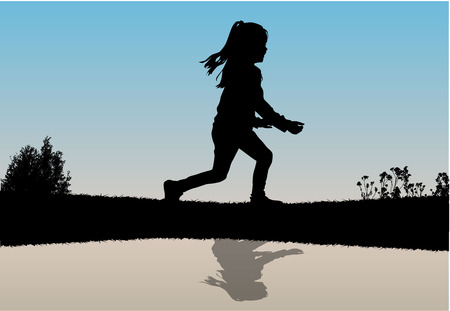Silhouette of running girl.