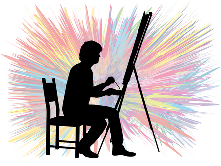 mature men: Artist painted the picture on an easel.