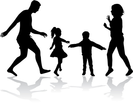 happy family: Family silhouettes . Silhouette of a happy family. Illustration