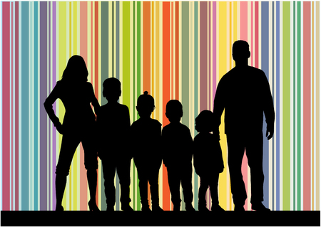 son of man: Family silhouettes . Abstrac background. Illustration