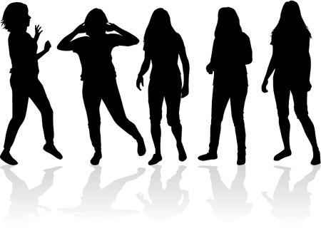 alzando la mano: Siluetas negras de las mujeres.