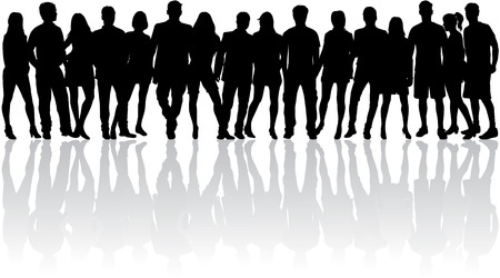 silhouettes people: Group of people. Crowd of people silhouettes.