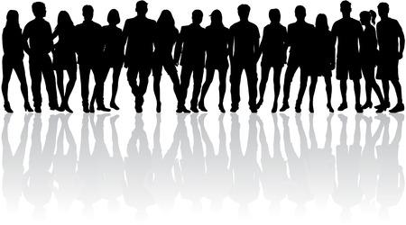 menschenmenge: Gruppe von Leuten. Menge von Menschen Silhouetten. Illustration