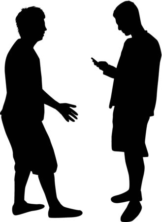 two men talking: Silhouettes of two men talking.