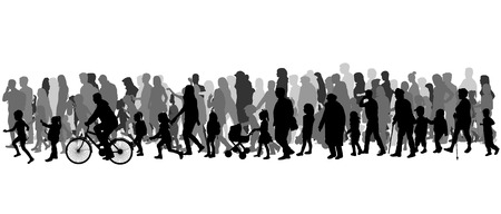 people silhouettes: Group of people. Crowd of people silhouettes.