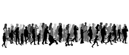 Gruppo di persone. Folla di sagome di persone.