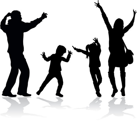 father: Family silhouettes . Silhouette of a happy family. Illustration