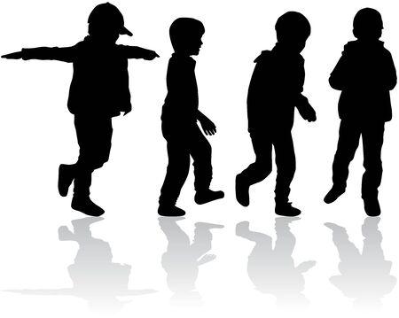 Siluetas de los niños. Ilustración de vector