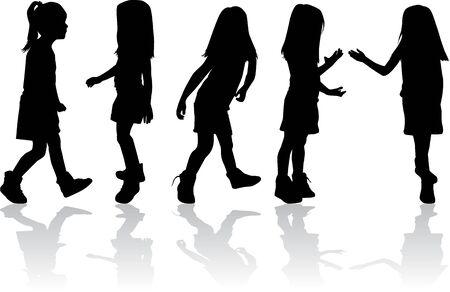 woman walk: Silhouettes of children.