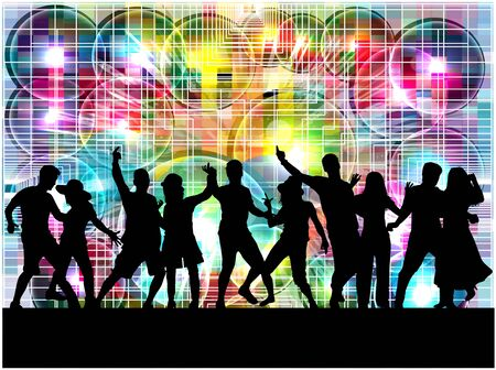 male teenager: Dancing people silhouettes. Abstract background. Illustration