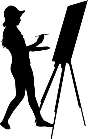 artistas: Artista pintó el cuadro en un caballete.