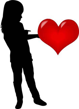 silueta niño: Silueta de una niña con un corazón.