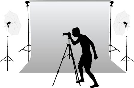 Photo accessories - studio equipment, working with vectors. Silhouette of the photographer.