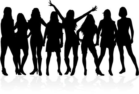 Grote groep vrouwen - silhouet vector Vector Illustratie