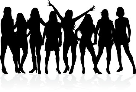 women: Large group of women - silhouette vector