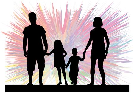 Familie schwarzen Silhouetten. Zusammenfassung Hintergrund. Standard-Bild - 66321547